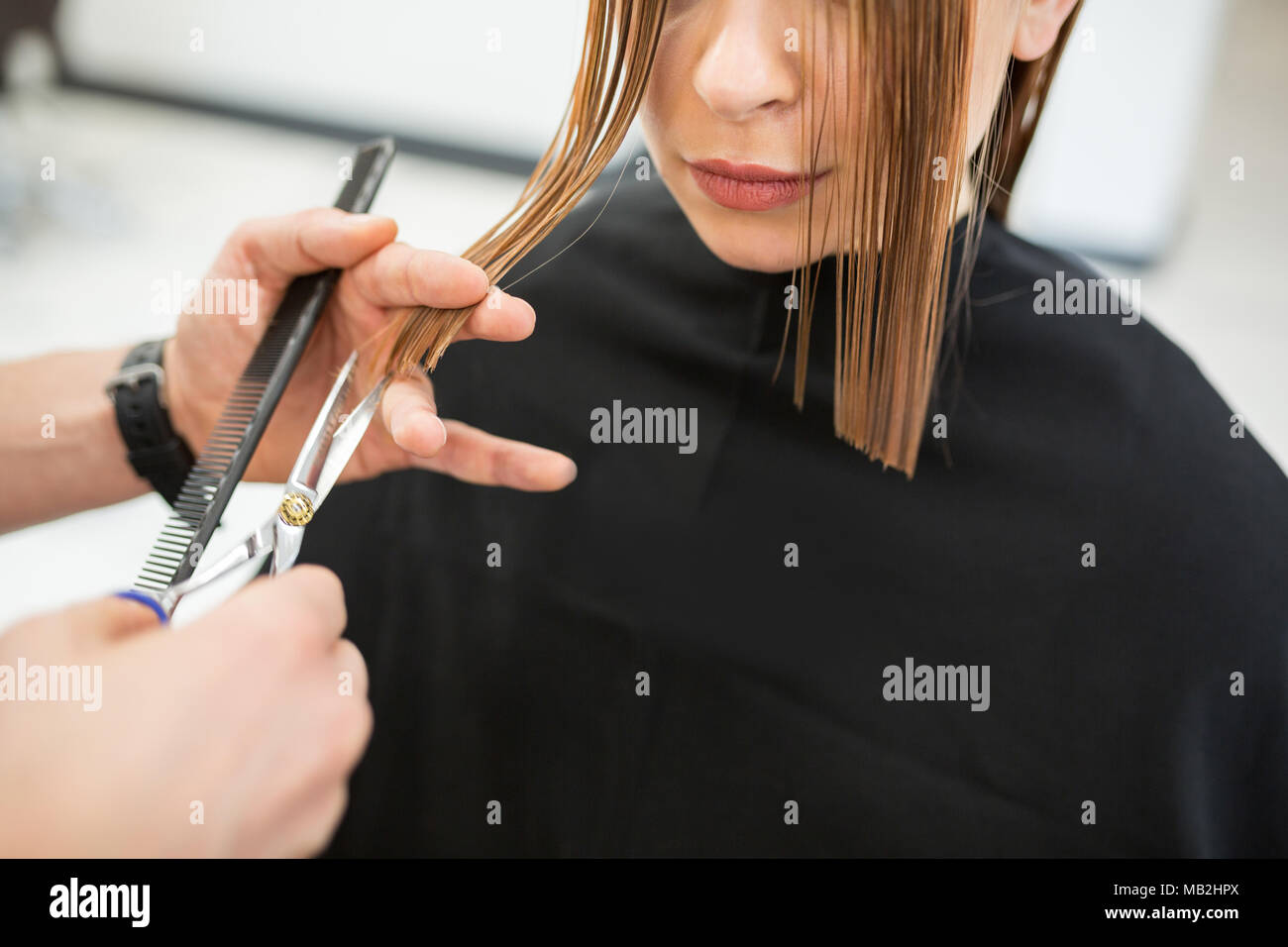 Cropped portrait of woman having wet hair cut at hairdresser - Stock Image