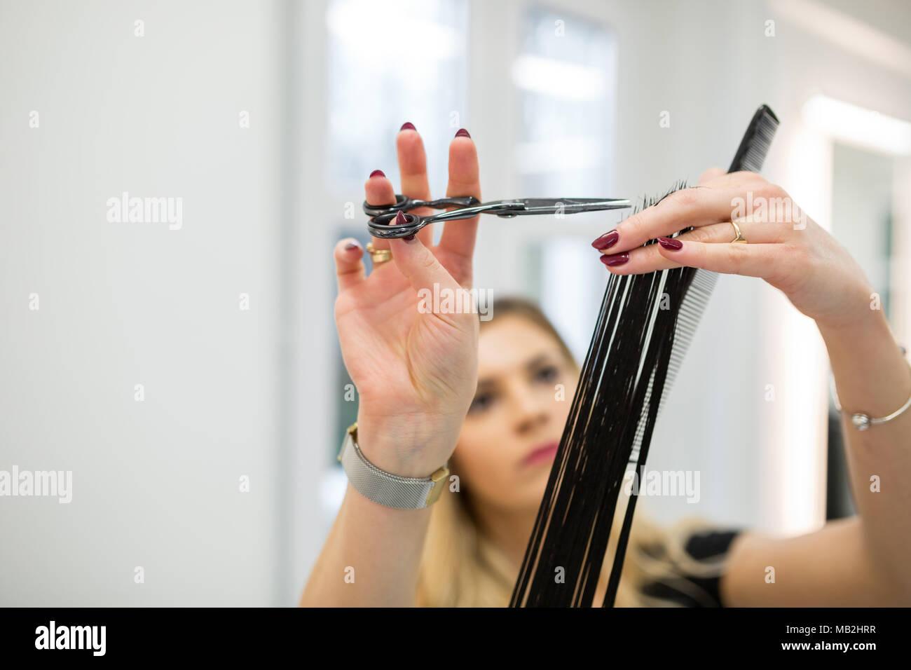 Portrait of focused hairdresser holding customer hair strand for cut - Stock Image