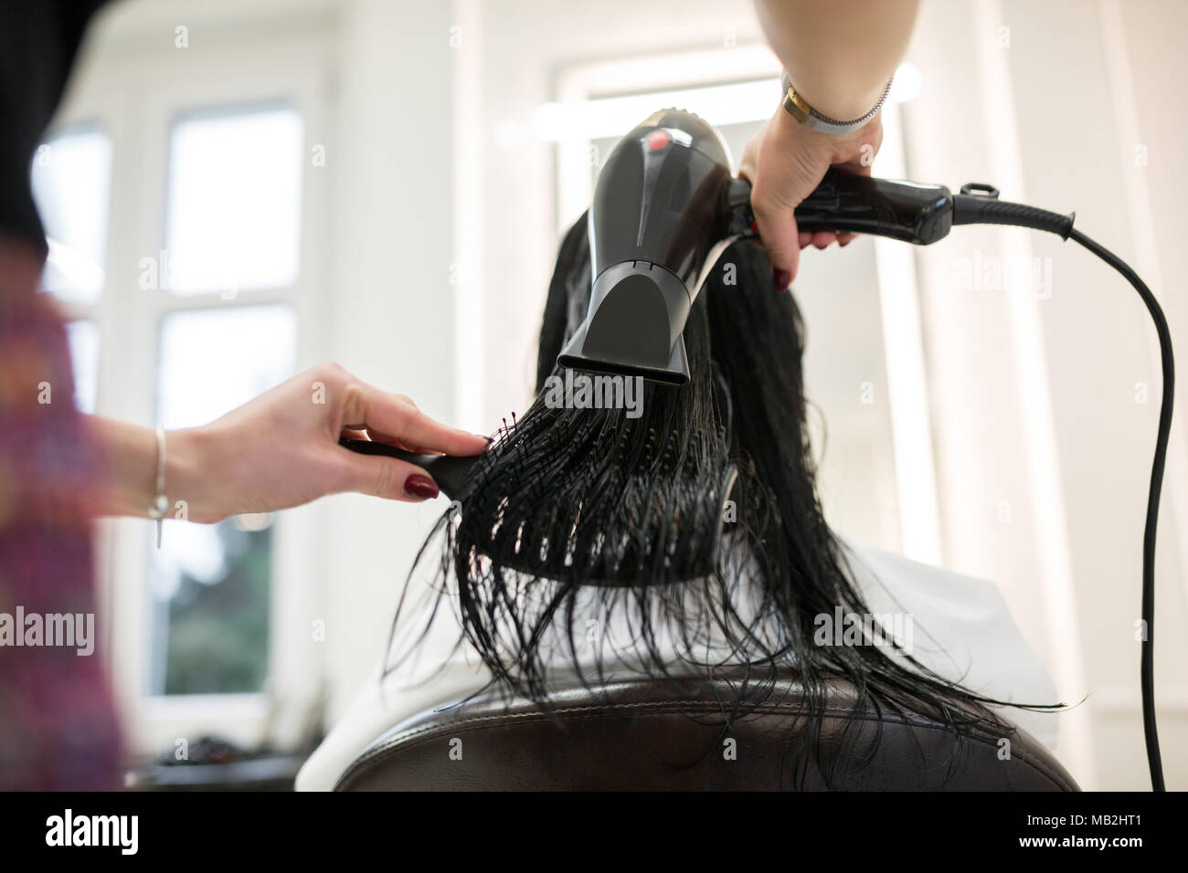 Back portrait of woman having hair dried by hairdresser - Stock Image