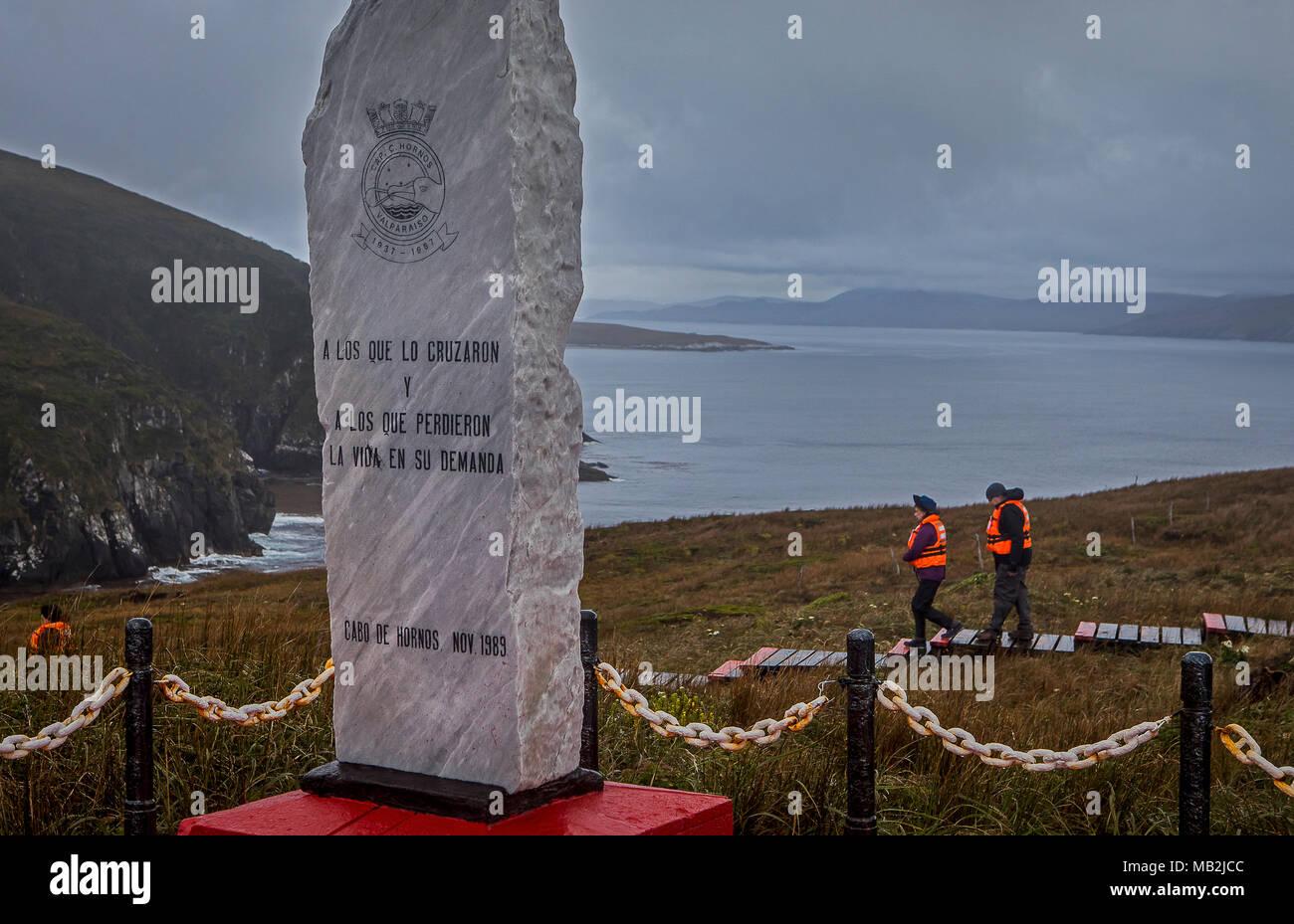 Memorial stone, Cape Horn, Tierra de Fuego, Patagonia, Chile - Stock Image