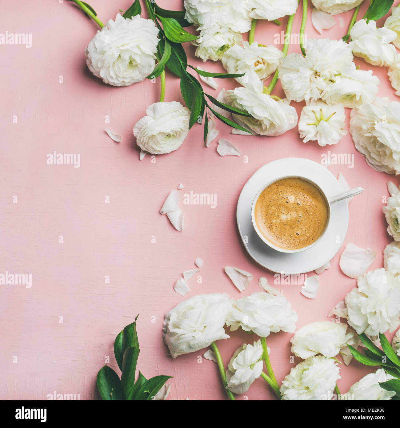 Flat-lay of cup of coffee and ranunculus flowers, square crop - Stock Image