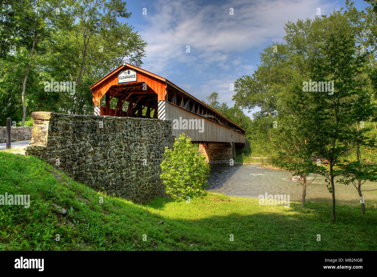 The Academia Covered Bridge in Pennsylvania - Stock Image