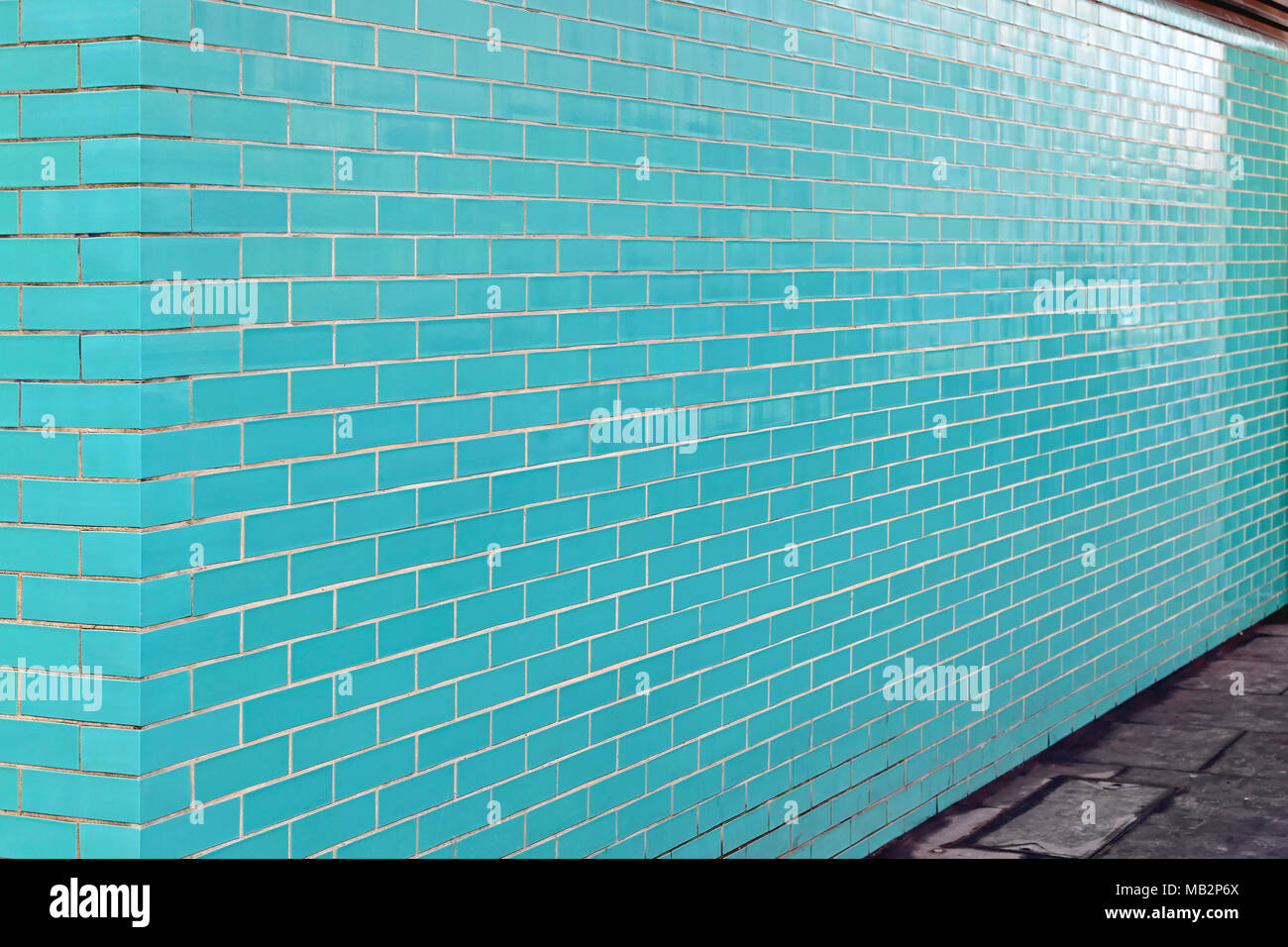 Turquoise Brick Tiles Wall Side View Perspective