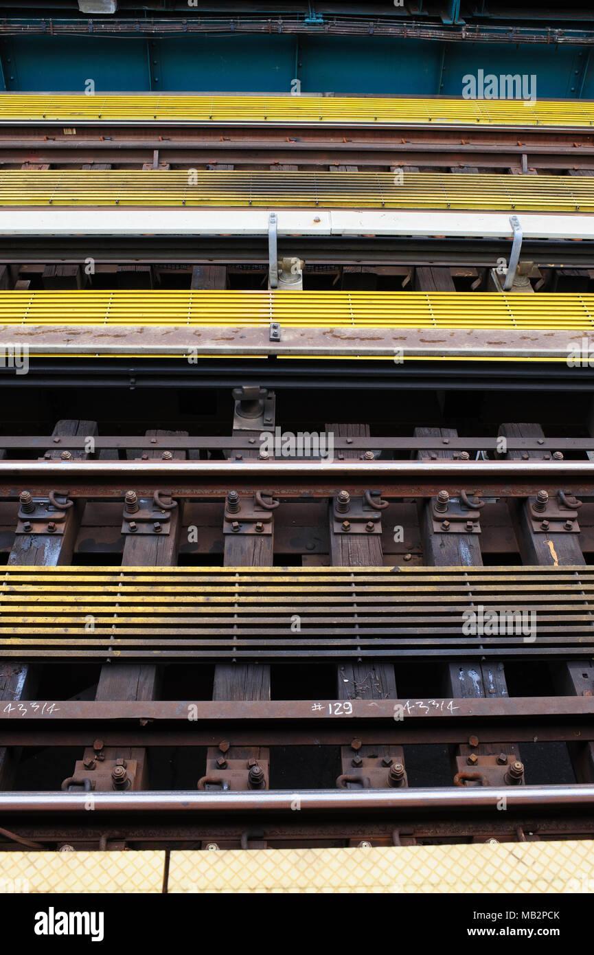 Train tracks in New York City, July 2013. - Stock Image