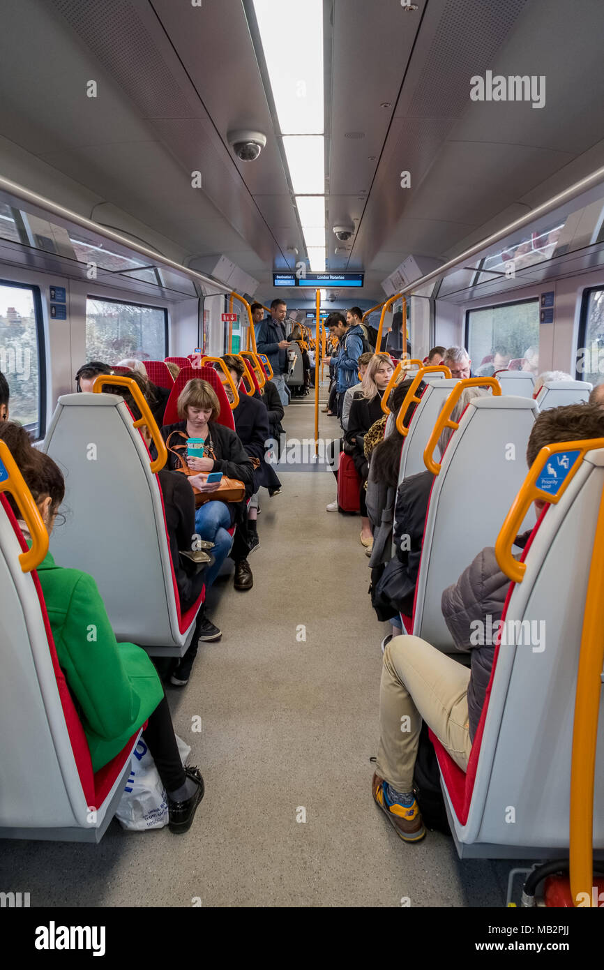 The interior of a new Desiro city class 707 train.  The class 707 trains are supplied by Siemens and operated by South Western Railway. Stock Photo
