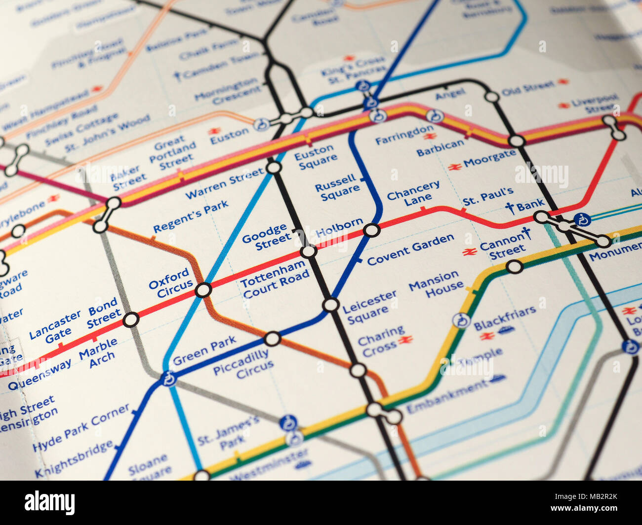 LONDON UK CIRCA 2018 map of London Underground tube stations