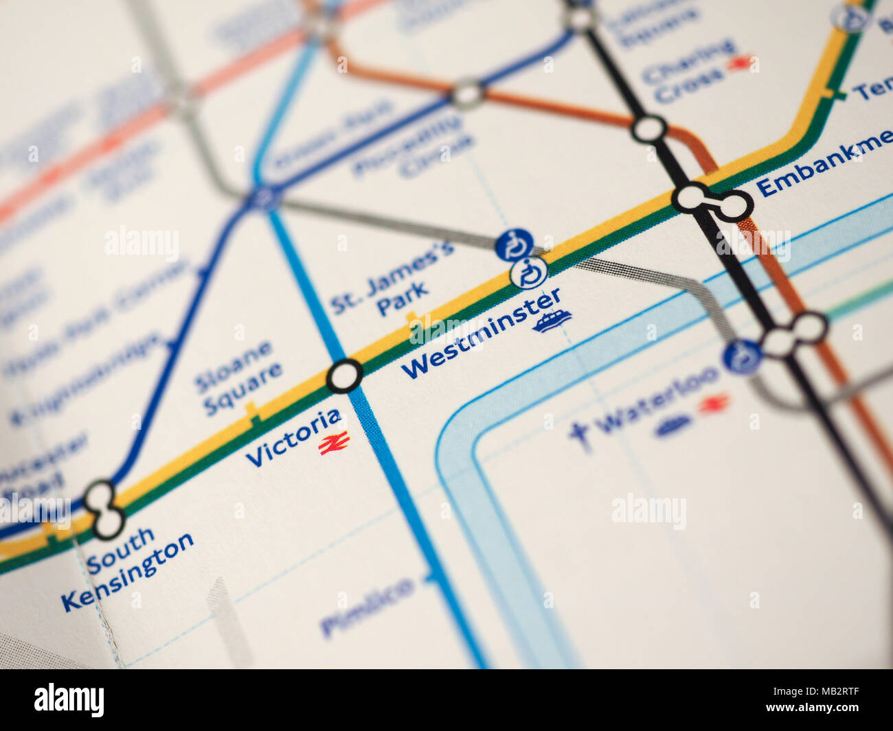London Uk Circa 2018 Map Of London Underground Tube Stations With Selective Focus On Westminster Station For The Houses Of Parliament Stock Photo Alamy