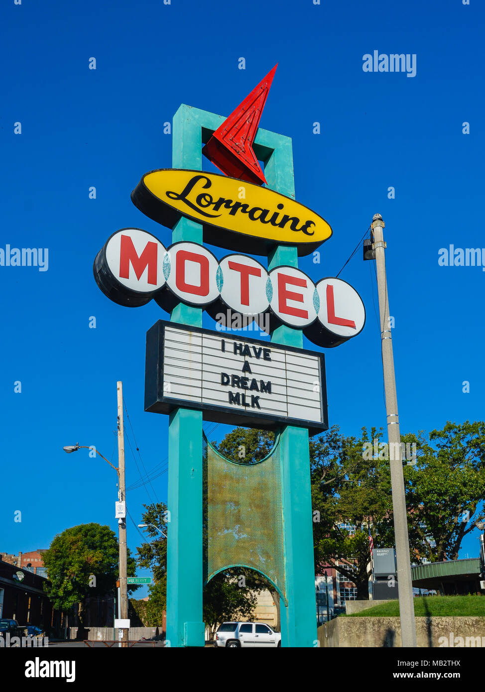 Memphis, TN : Sign, Lorraine Motel. Dr. Martin Luther King, Jr. was assassinated on a second floor balcony of the Lorraine Motel on Apr. 4, 1968. Stock Photo