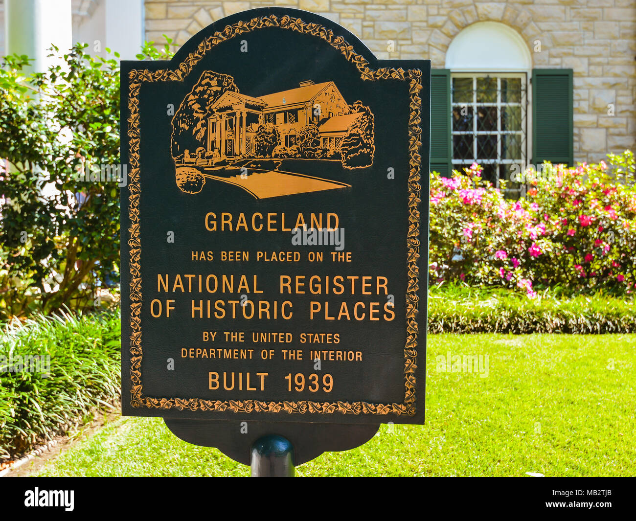 Memphis, TN - Marker in front of Elvis Presley's Graceland mansion indicating that the property is listed in the National Register of Historic Places. Stock Photo