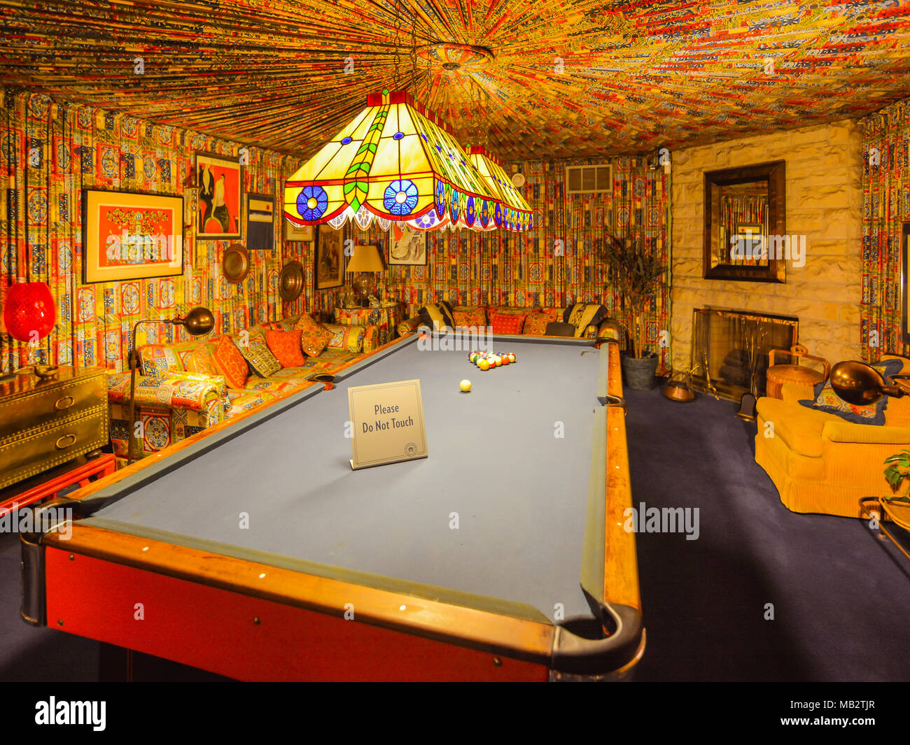 Memphis, TN - Sep. 21, 2017: Pool room in Elvis Presley's Graceland Mansion. The mansion had been placed in the National Register of Historic Places. - Stock Image