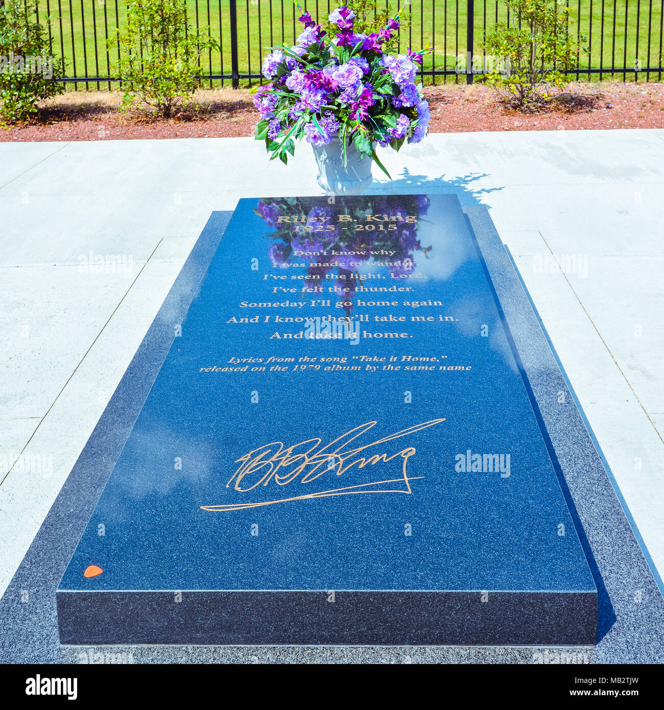 Indianola, MS - Sept. 22, 2017: B.B. King's Gravesite. B.B. King was an American blues singer, electric guitarist, songwriter, and record producer. - Stock Image