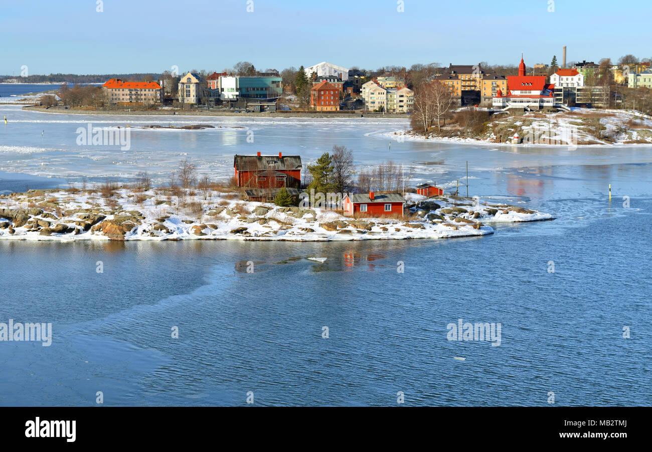 Islands of Helsinki archipelago on sunny spring day. Finland - Stock Image