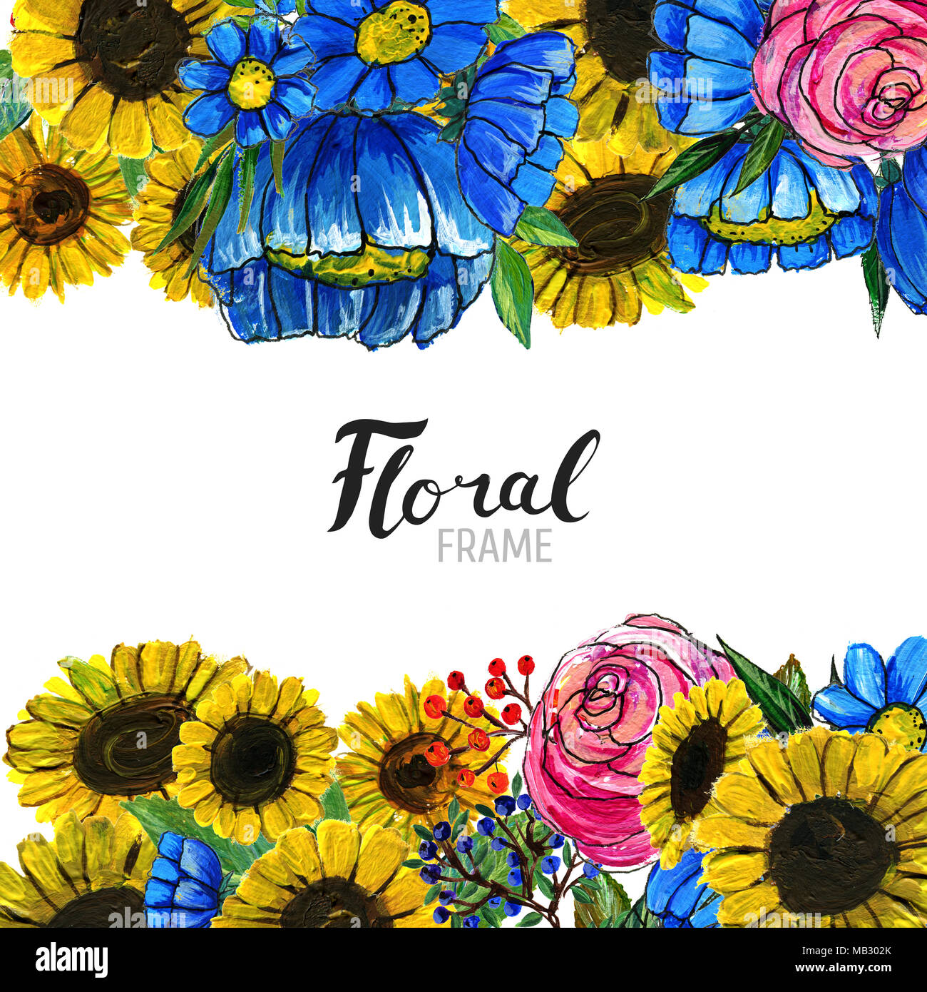 Watercolor Floral Background Hand Painted Border Of Flowers Good For Invitations And Greeting Cards Sunflowers Roses Berries Blue Wildflowers