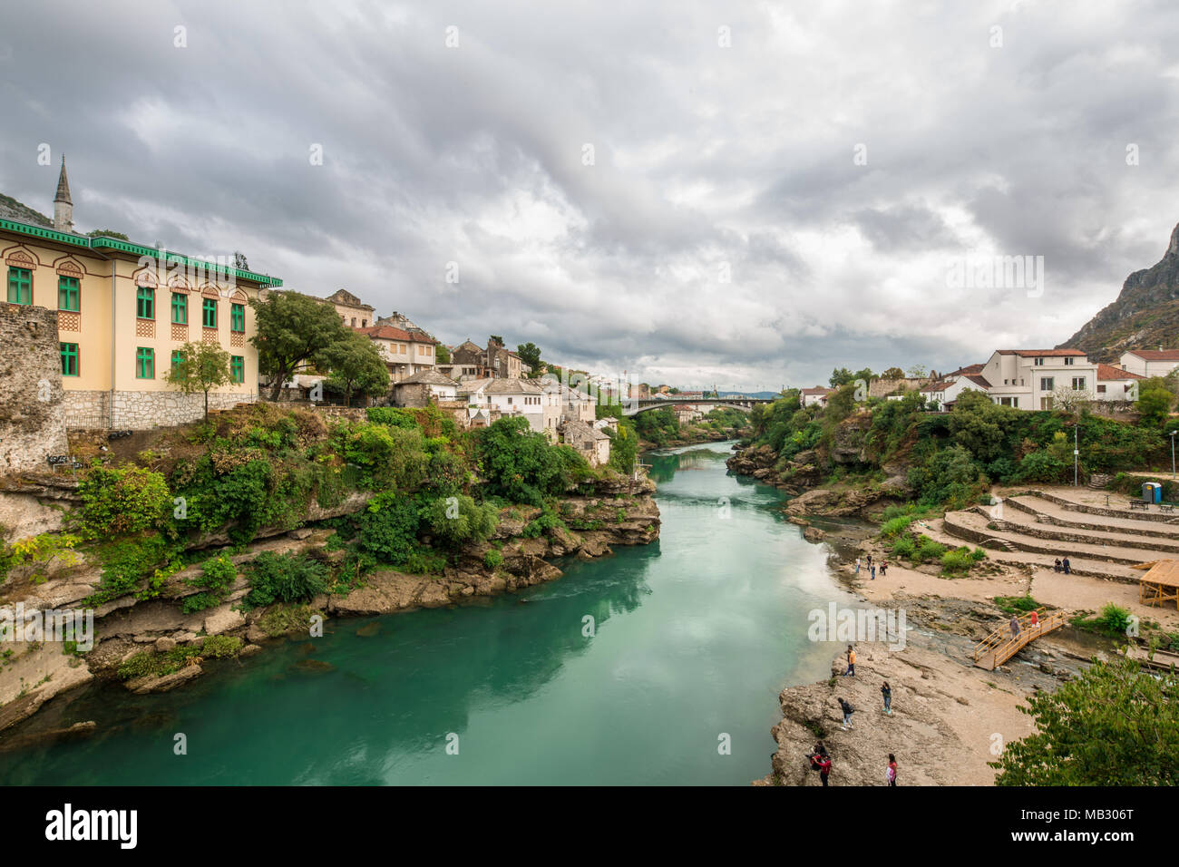 The World Heritage Site Old Bridge Of Mostar City With Emerald River Neretva In Southern Part Of  Bosnia-Herzegovina In Eastern Europe Where West Meet - Stock Image