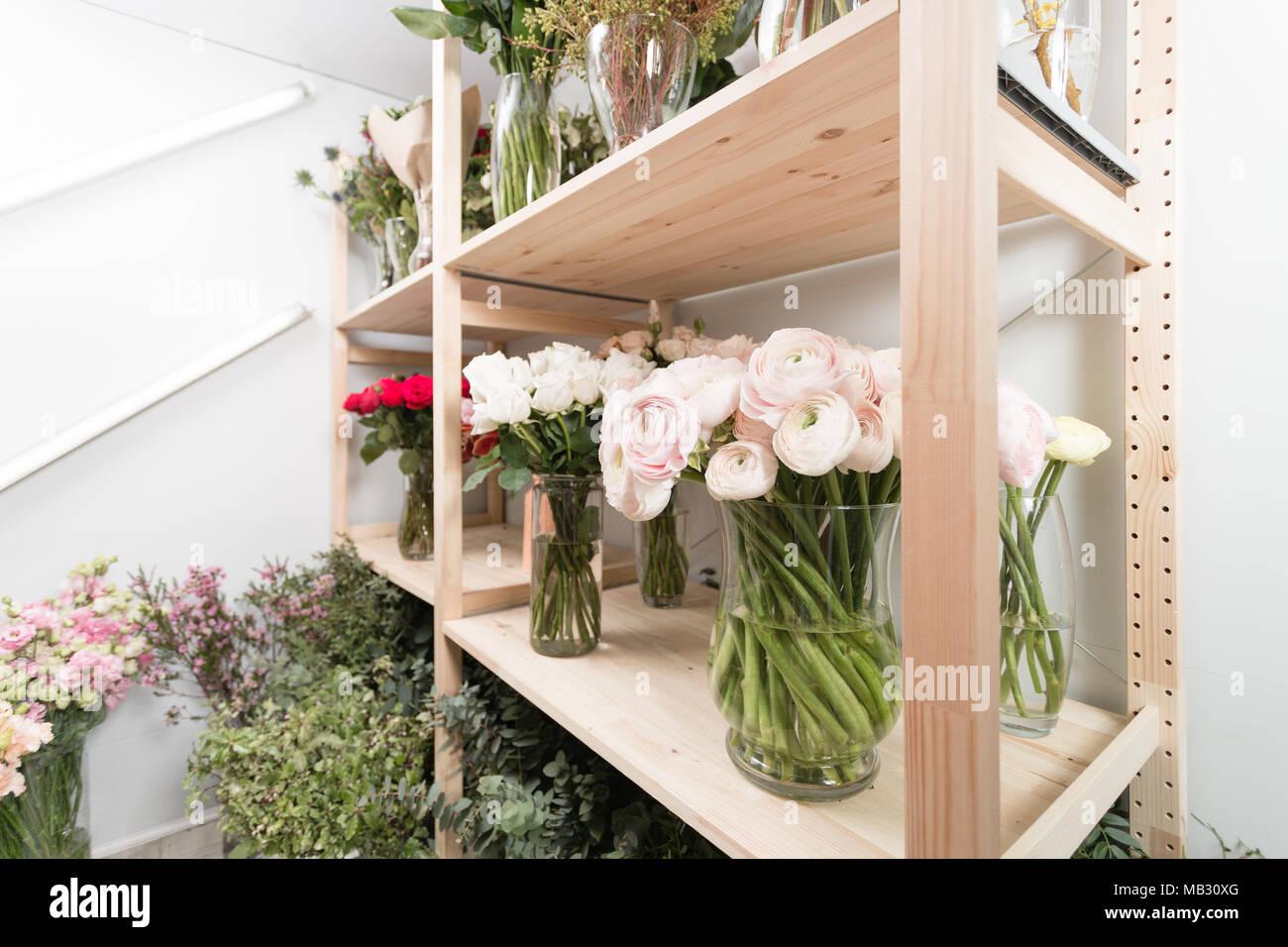 Different varieties fresh spring flowers in refrigerator for different varieties fresh spring flowers in refrigerator for flowers in flower shop bouquets on shelf florist business mightylinksfo