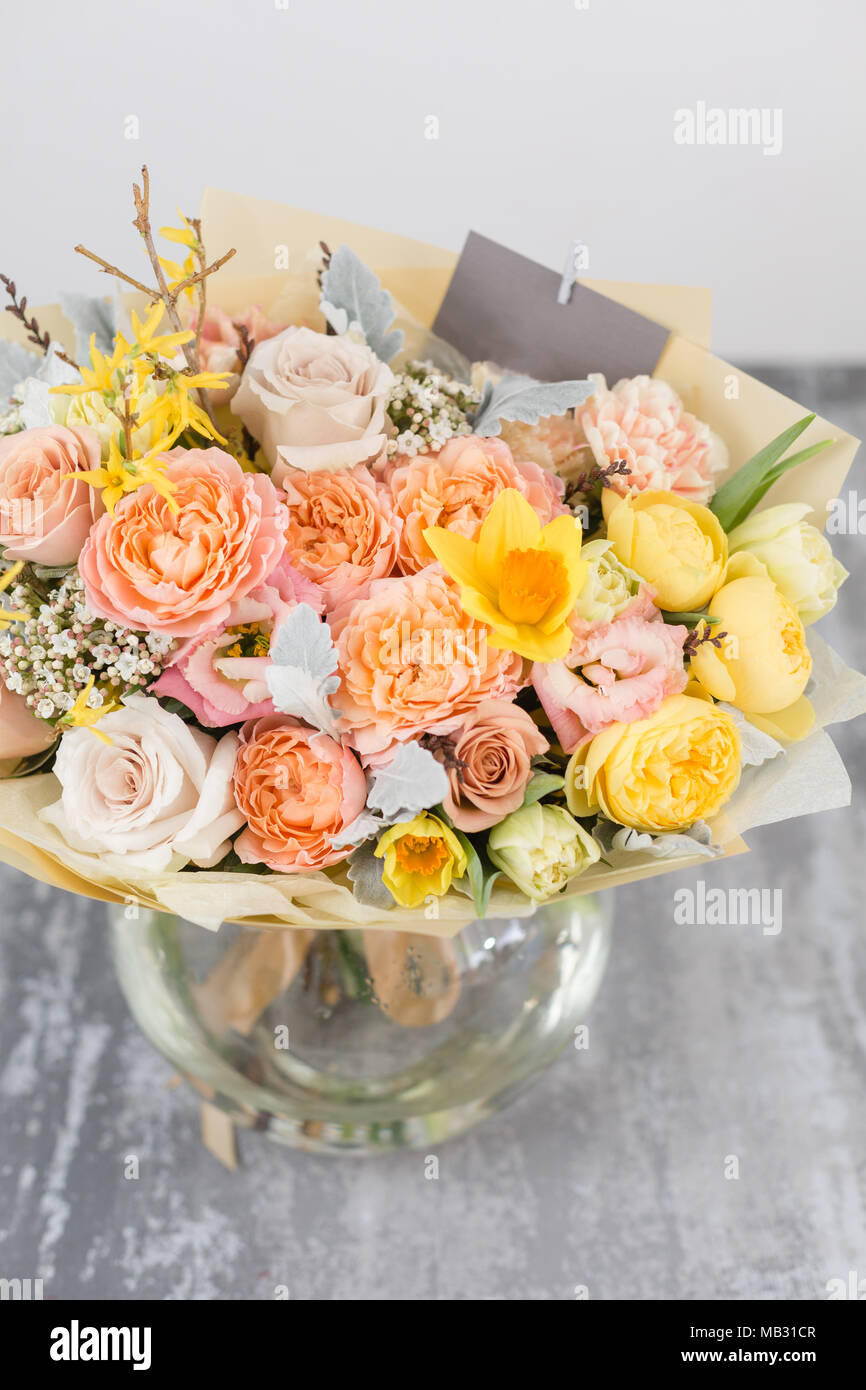 Vertical Composition Of A Small Bouquet Of Flowers Stock Photos