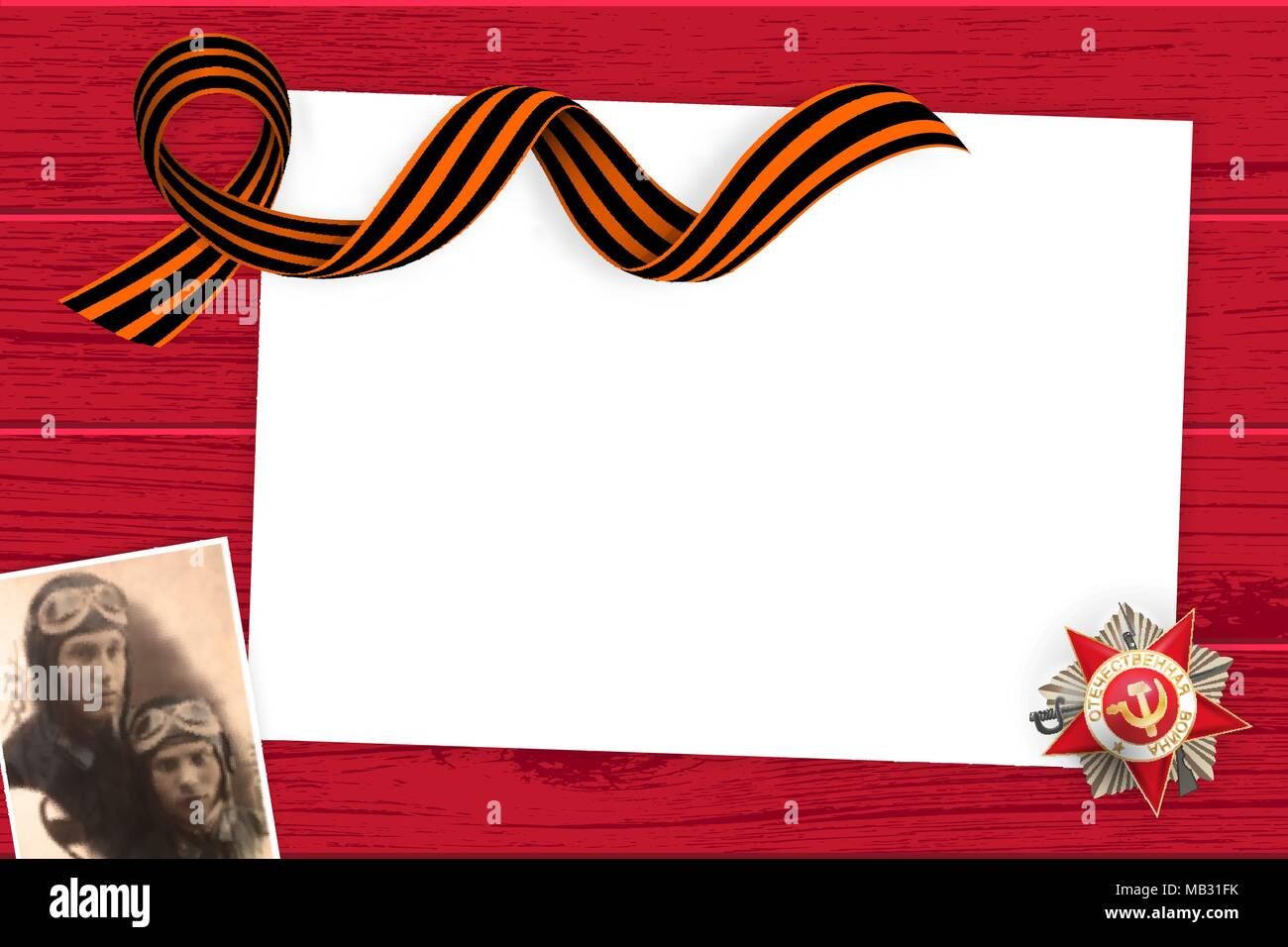 9 may wooden board St George ribbon - Stock Vector