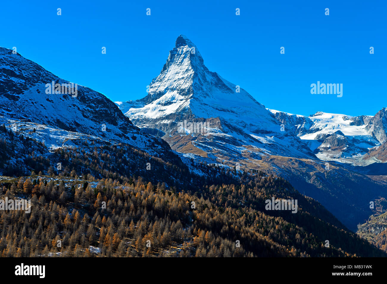 Matterhorn with Hörnligrat, Zermatt, Valais, Switzerland - Stock Image