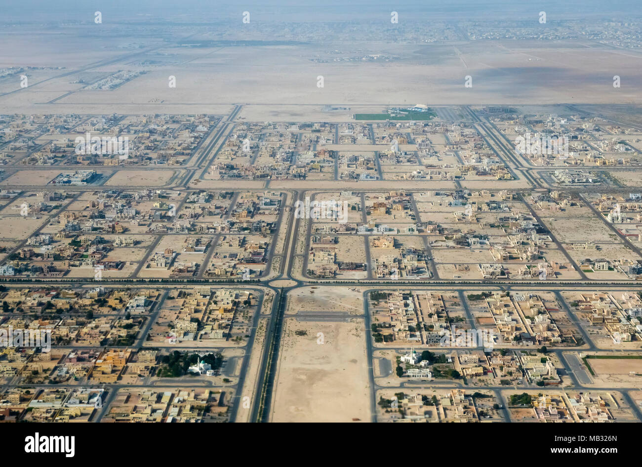 Ariel view of the suburbs of Abu Dhabi, United Arab Emirates - Stock Image