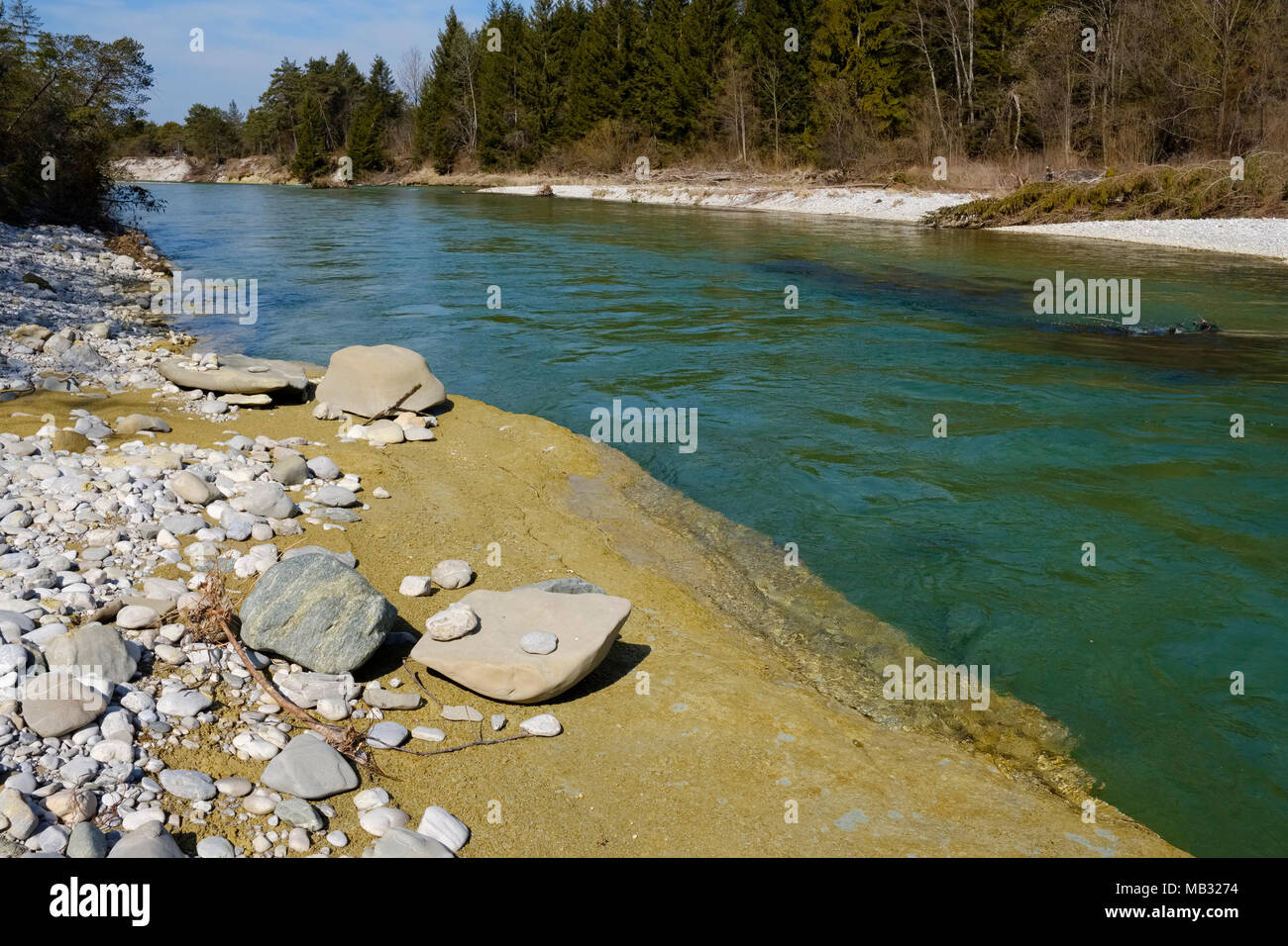 Clay at the riverbank, Isar, Nature Reserve Isarauen, Geretsried, Upper Bavaria, Bavaria, Germany - Stock Image