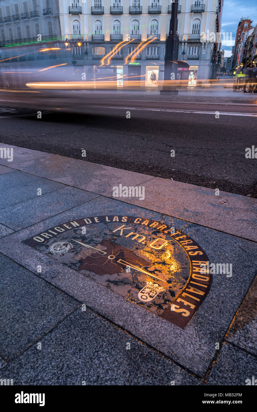 Plaque on the floor marking as the kilometre zero from which all radial roads in Spain are measured, Puerta del Sol square, Madrid, Spain - Stock Image