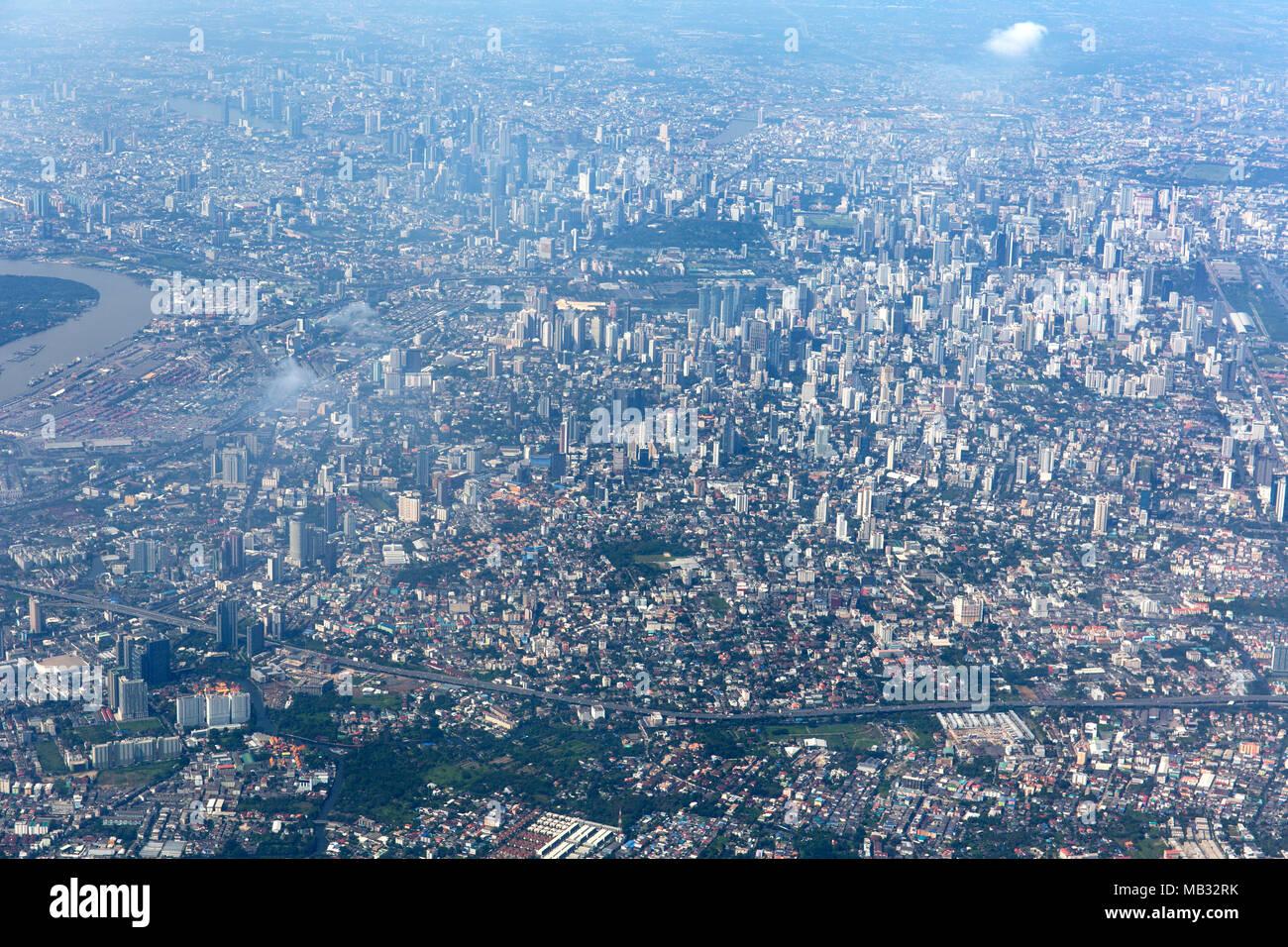 View of city centre, aerial view, Bangkok, Thailand - Stock Image