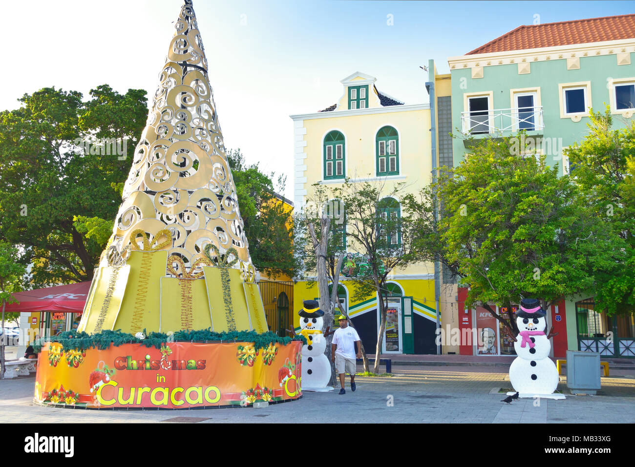Colorful Christmas tree and snowman decorations in Willemstad ...