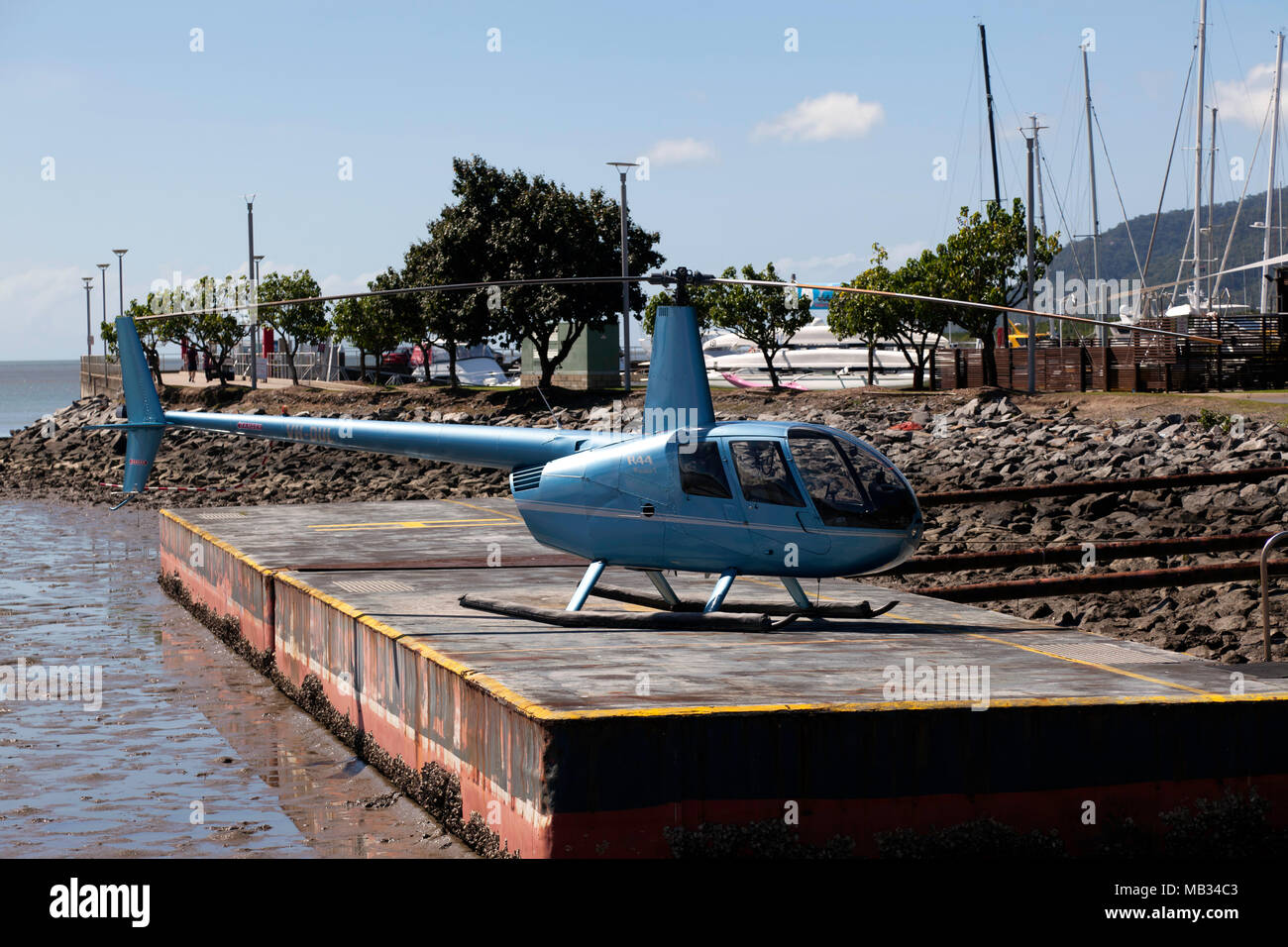 An R44 Raven-1 Helecopter, operated by gbr helicopters, Cairns, Queensland, Australia - Stock Image