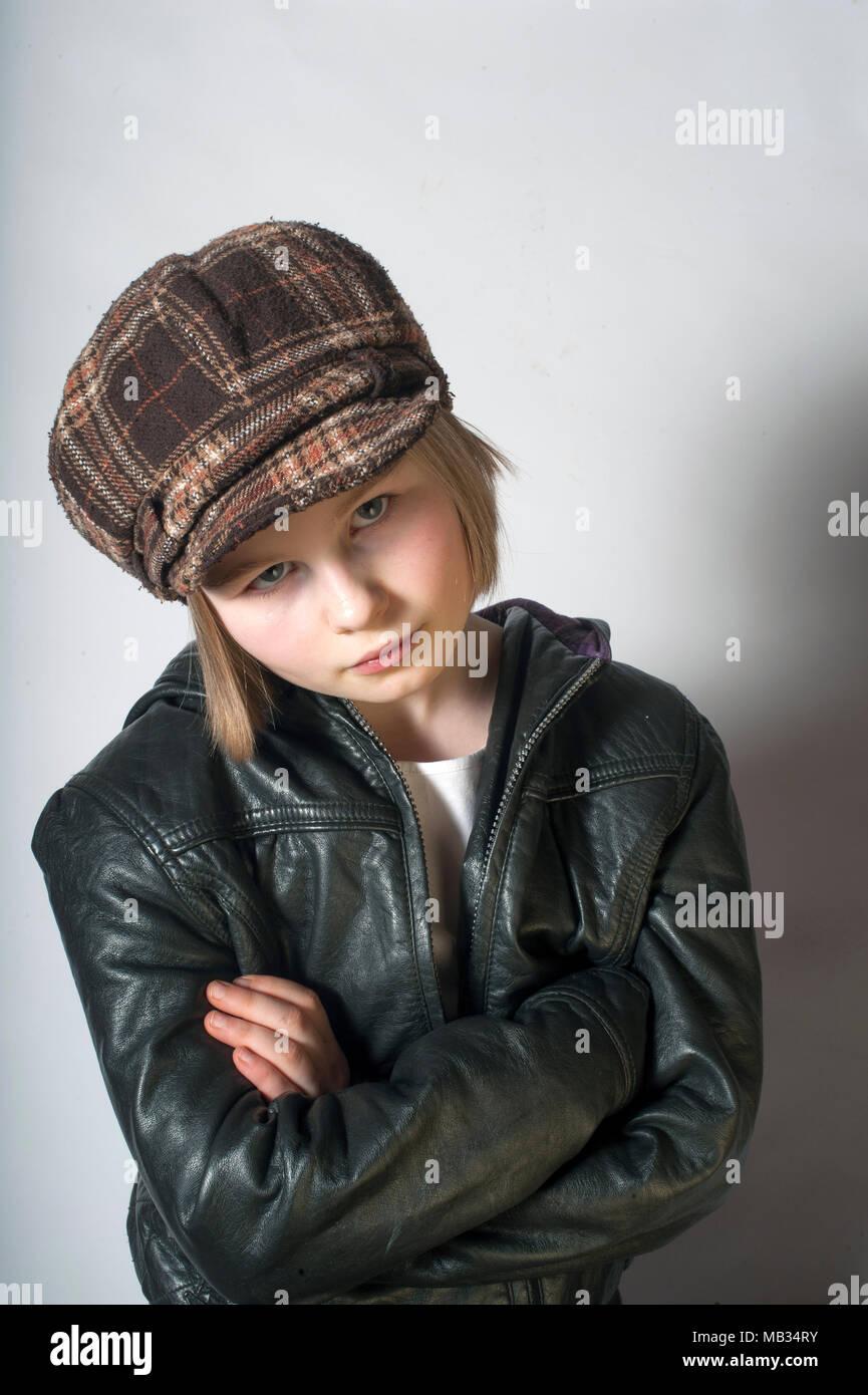 An unhappy young girl. - Stock Image