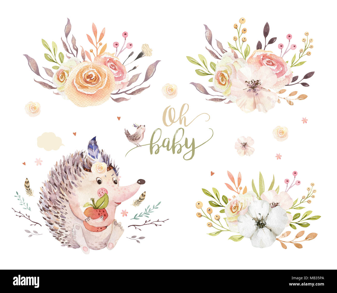 Cute watercolor bohemian baby hedgehog animal poster for nursary with bouquets, alphabet woodland isolated forest illustration. Baby shower animals in - Stock Image
