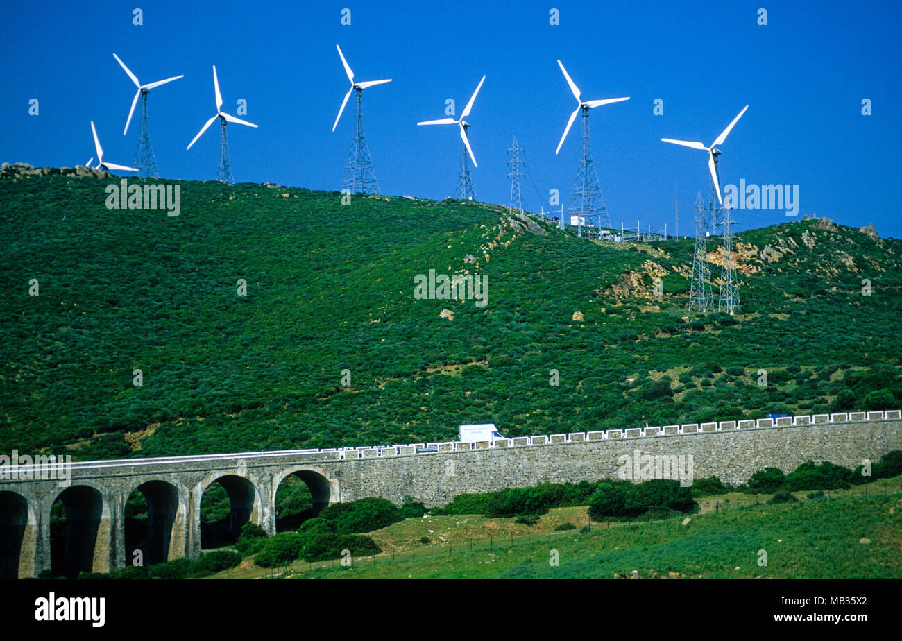 Wind Farm on the Hills Above Tarifa, Andalusia, Spain. - Stock Image