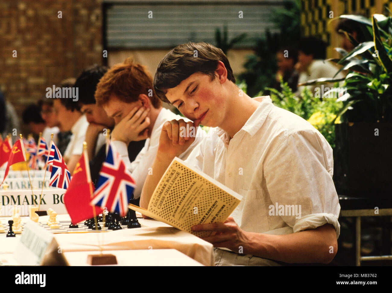 James Howell as Junior British Chess Captain at Goldmark Books Chess Challenge, London England 27 May 1986 James Howell went on to be a Chess Grandmaster as well as an author on chess. Stock Photo