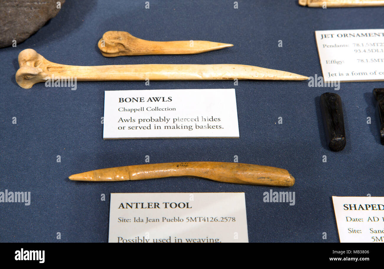 Museum awl display, Anasazi Heritage Center, Canyons of the Ancients National Monument, Colorado - Stock Image