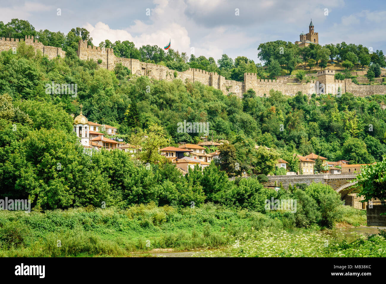 Tsarevets hill and fortress in Veliko Tarnovo, Bulgaria Stock Photo