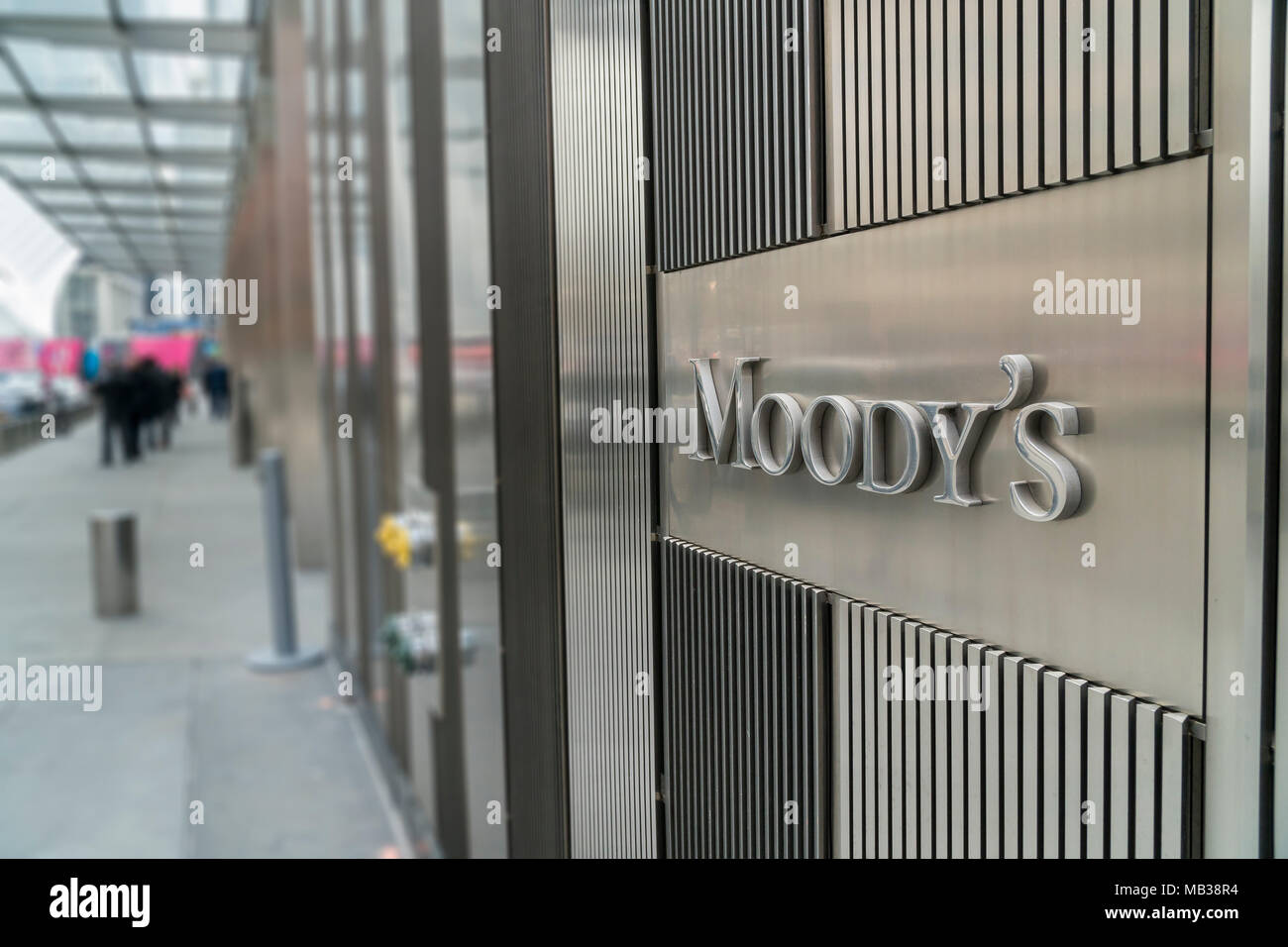 Moody's headquarters in Lower Manhattan in New York is seen on Thursday, April 5, 2018.  (© Richard B. Levine) - Stock Image