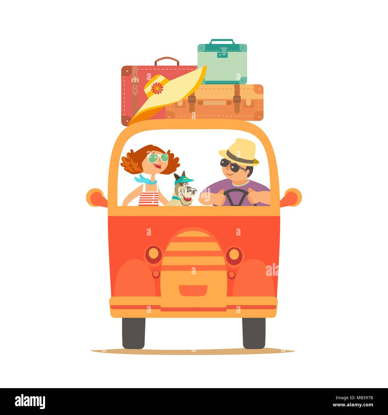 Travelling by car icon - Stock Vector