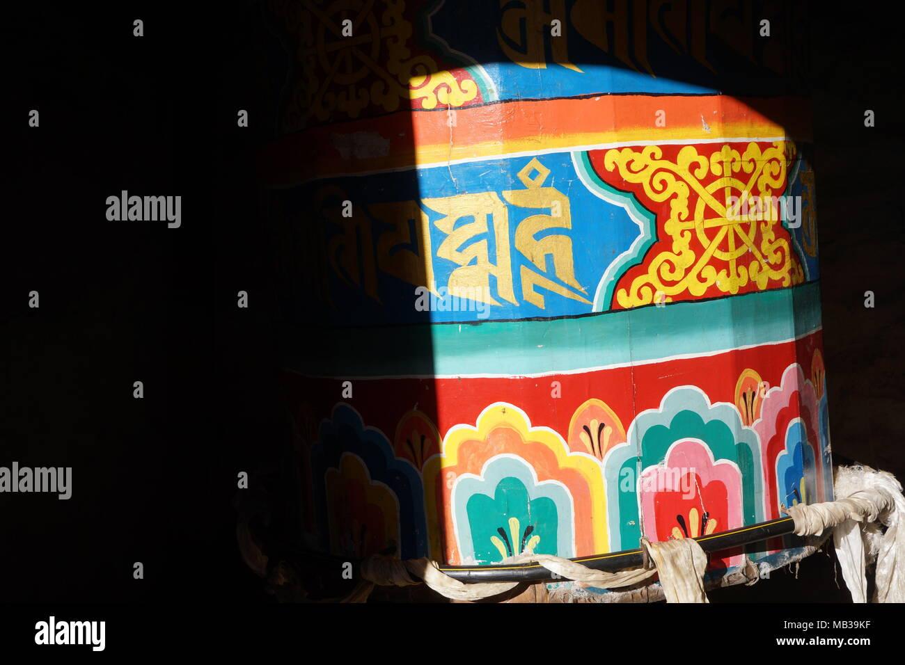 Prayer wheel in Namche Bazaar - Stock Image