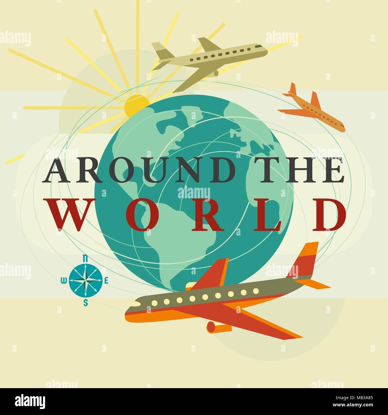Around the world concept - Stock Vector