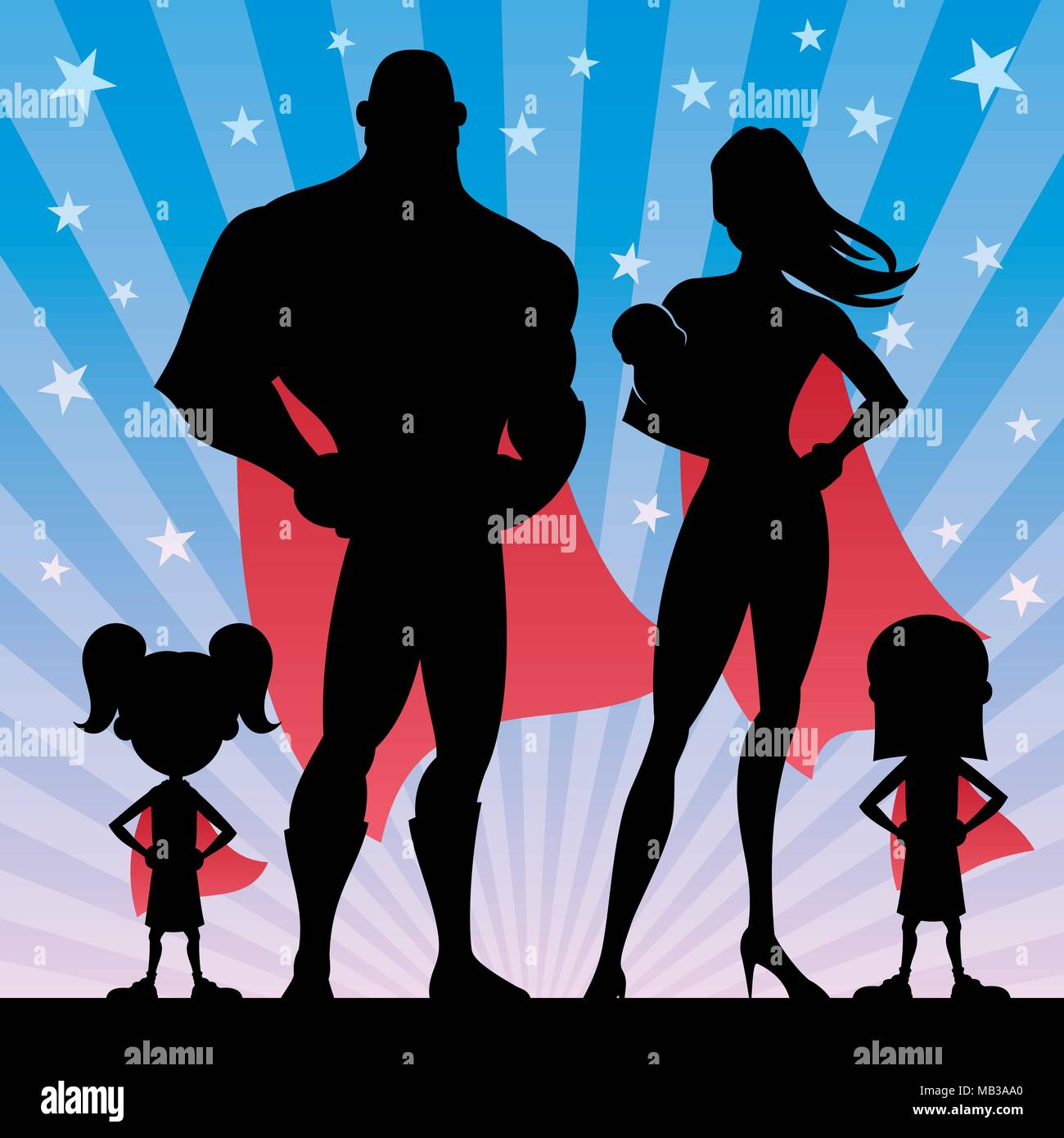 Superhero Family with 2 Girls and Baby - Stock Vector