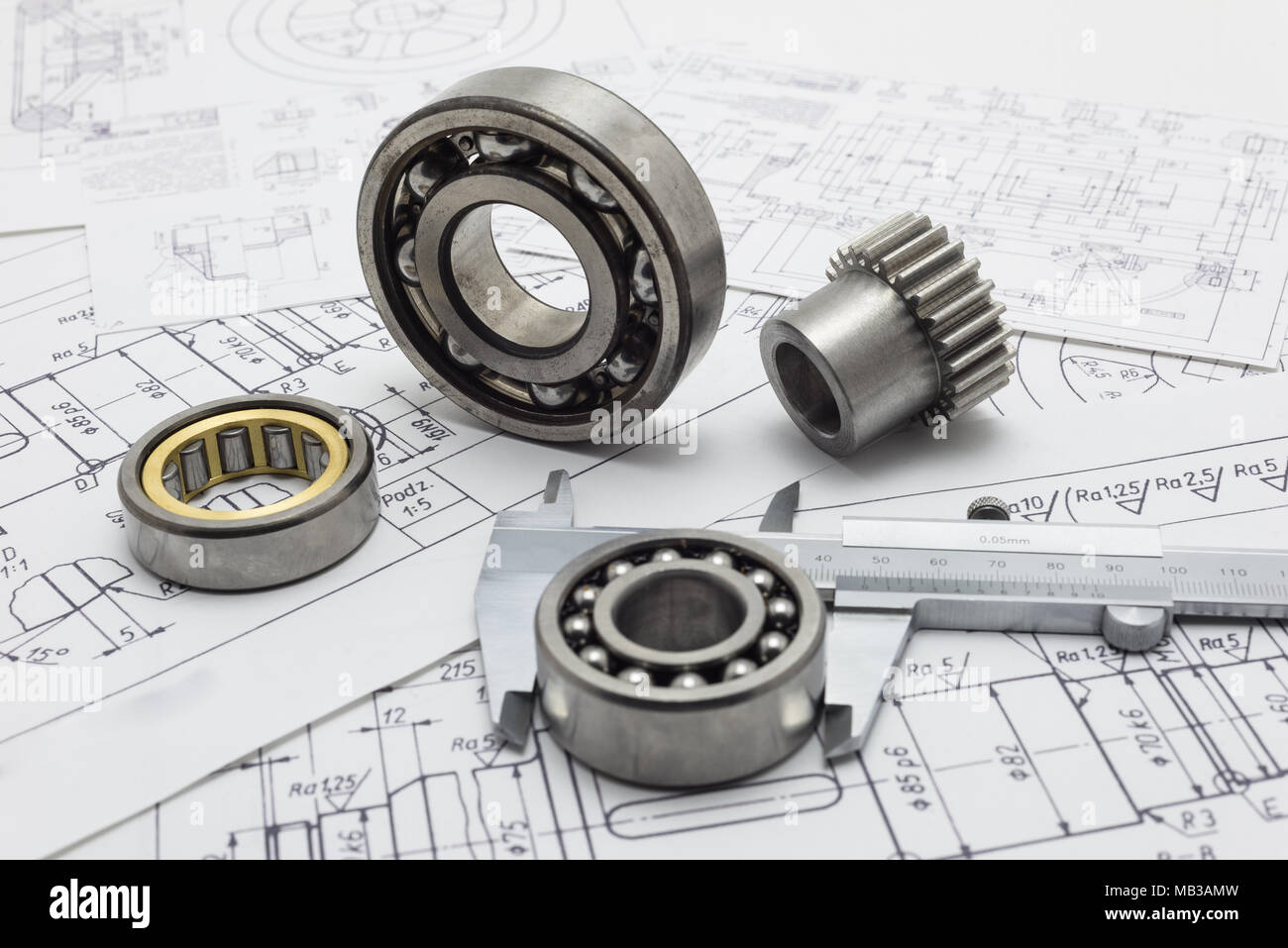 Mechanical scheme, caliper with bearing and small gear. - Stock Image
