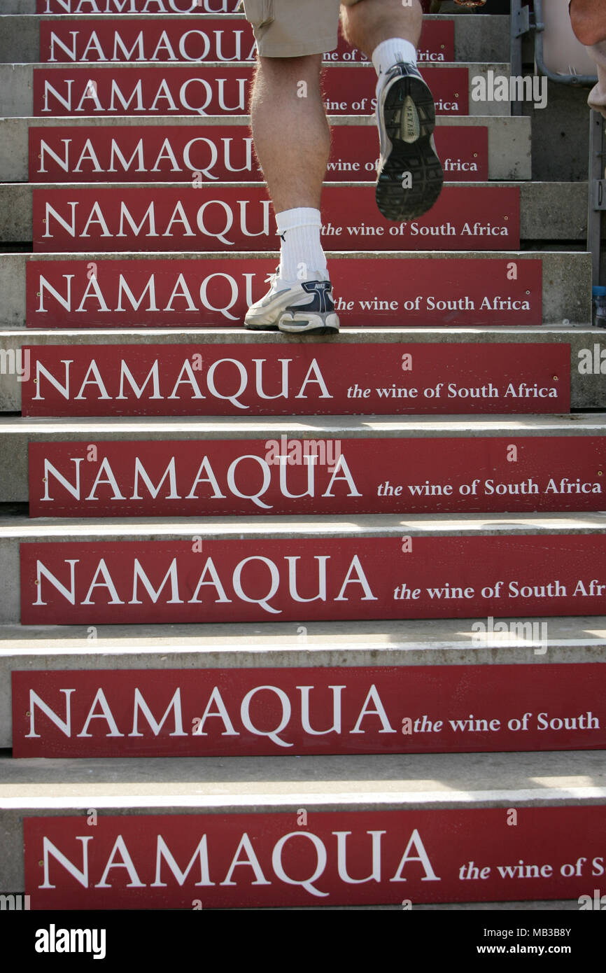 Namaqua the wine of South Africa sponsorship on stairs marketing campaign at the Twenty20 cricket cup match at the rose bowl hampshire. - Stock Image