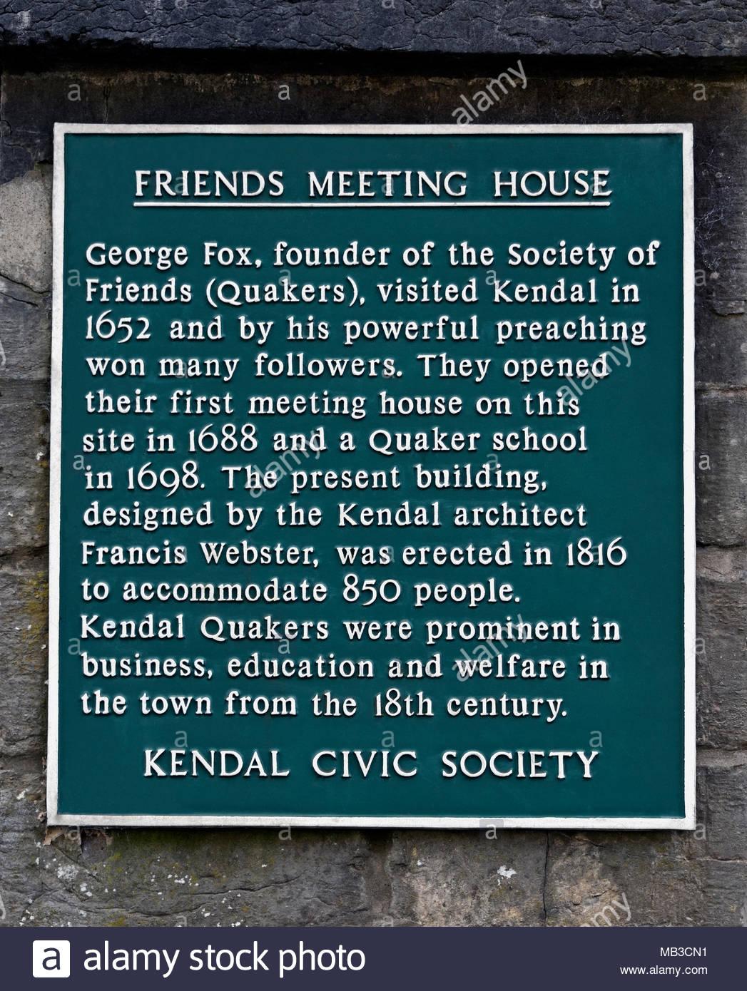 Friends Meeting House. Descriptive plaque, Kendal Civic Society. Stramongate, Kendal, Cumbria, England, United Kingdom, Europe. - Stock Image