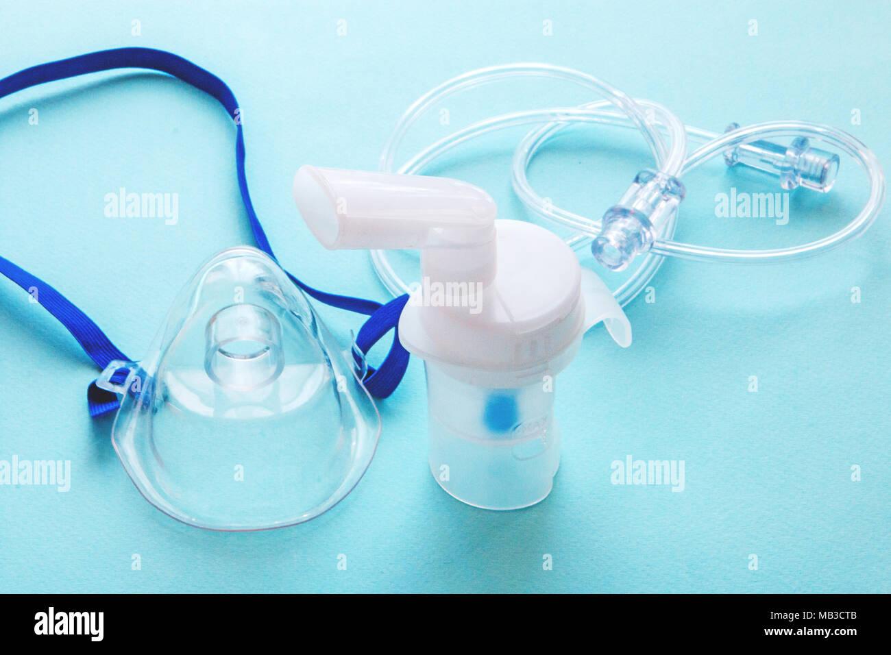 tube mask nebulizer and tubular transparent cable. - Stock Image