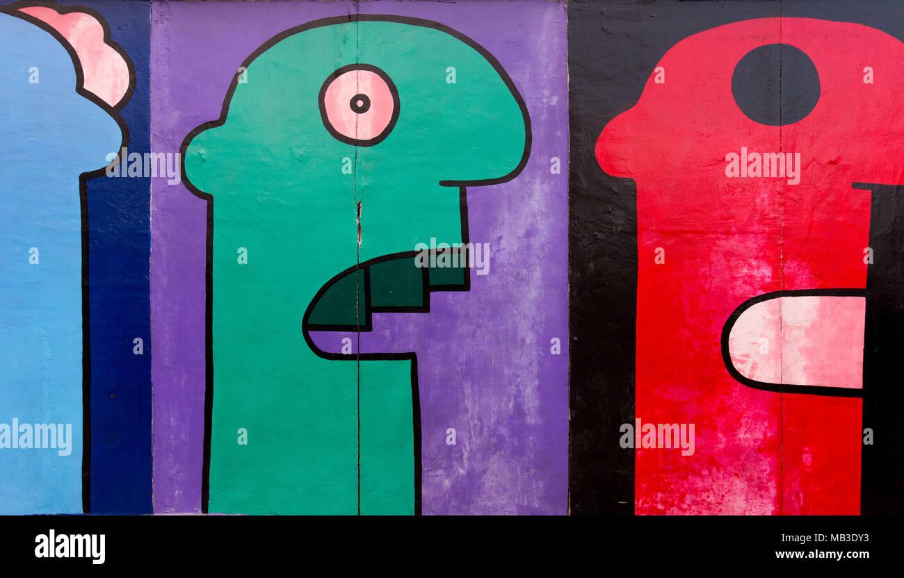 Street art of East Side Gallery in Berlin - Stock Image