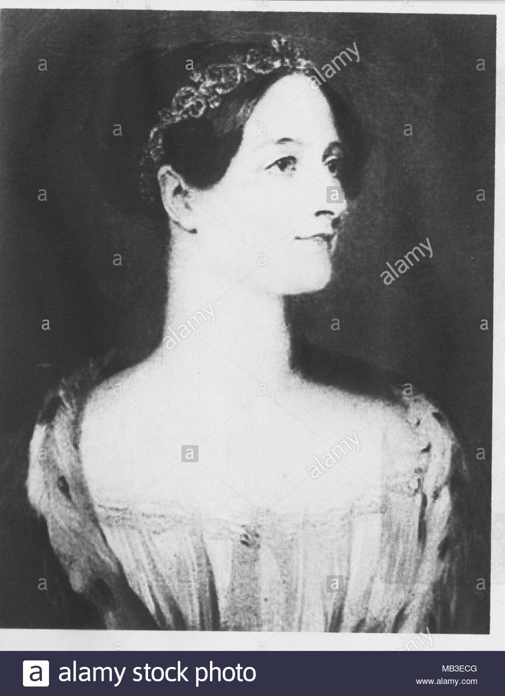 Ada Lovelace (Augusta Ada King-Noel, Countess of Lovelace (10 December 1815 – 27 November 1852), an English mathematician and writer known for her work on Charles Babbage's proposed mechanical general-purpose computer, the Analytical Engine. She was the first to recognize that the machine had applications beyond pure calculation, and published the first algorithm intended to be carried out by such a machine. As a result, she is sometimes regarded as the first to recognize the full potential of a 'computing machine' and the first computer programmer.rrrrrrrrrrrrrrrrrrrrrrrrrrrrrrrrrrrrrrrrrrrrr - Stock Image