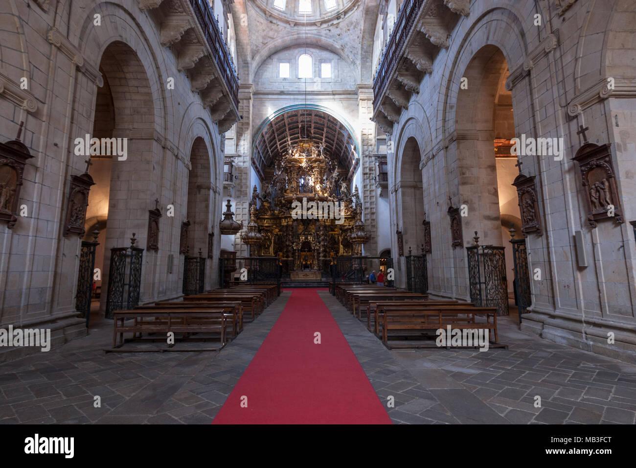 Main nave of the Museo e Iglesia de San Martín Pinario, Santiago de Compostela, Galicia, Spain - Stock Image