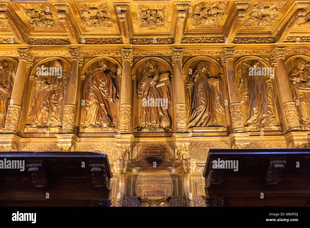 Choir of the church in Museo e Iglesia de San Martín Pinario, Santiago de Compostela, Galicia, Spain - Stock Image