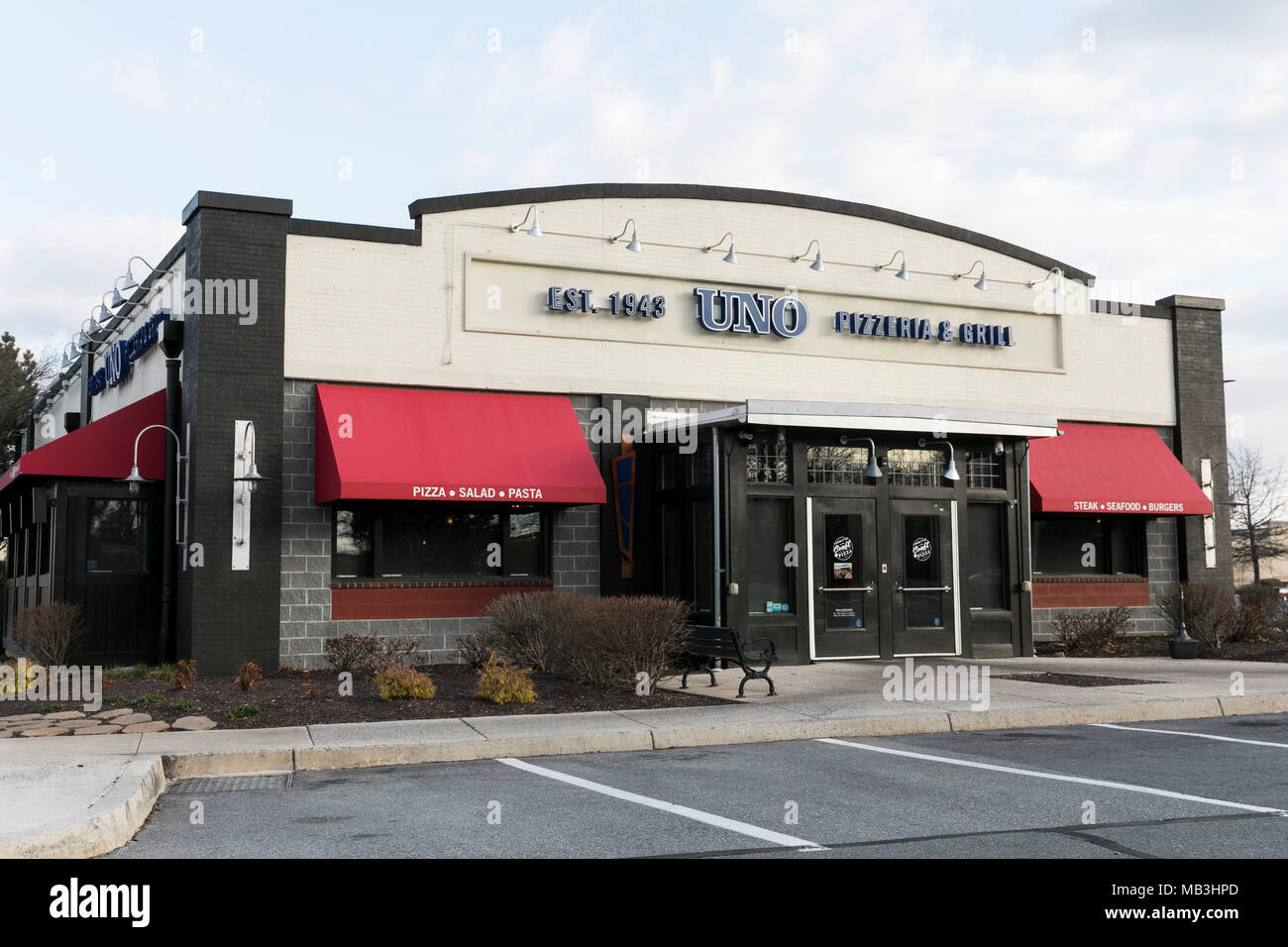 A Uno Pizzeria & Grill restaurant location in Hagerstown, Maryland on April 5, 2018. - Stock Image