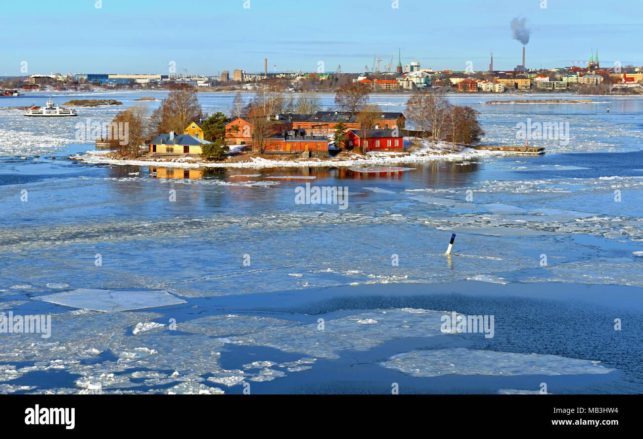 Spring in Helsinki, Finland. Islands of archipelago - Stock Image