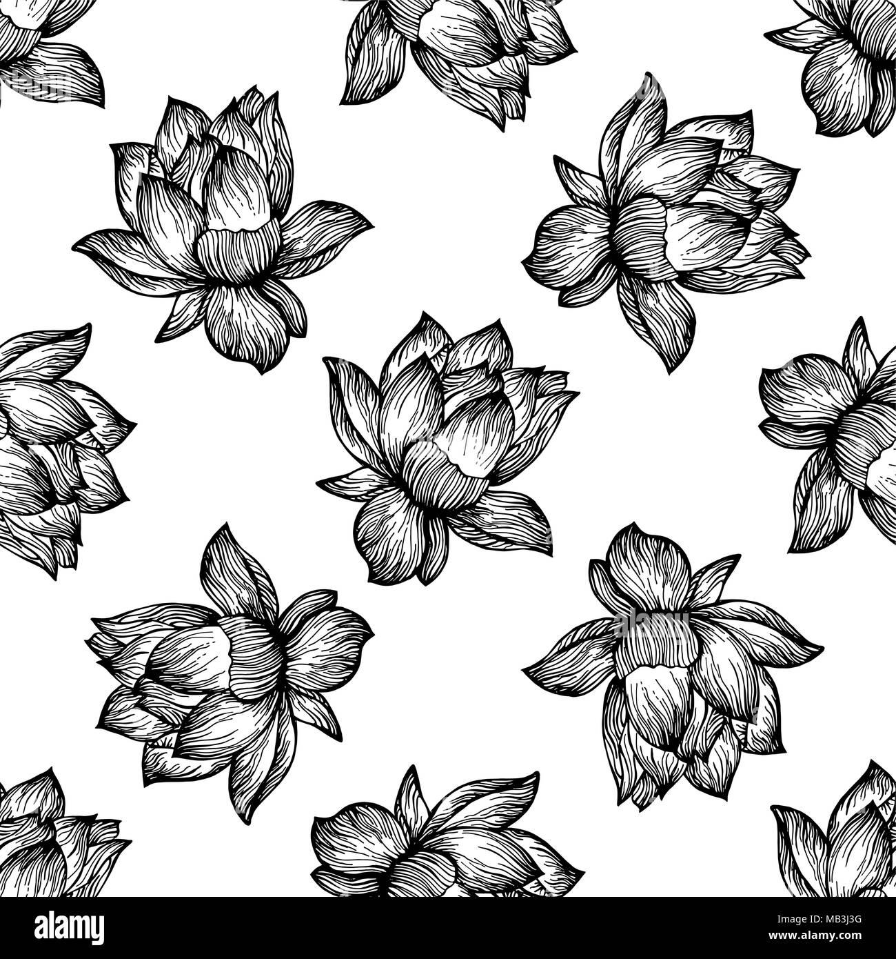 Seamless pattern of hand drawn sketch style lotus flowers isolated seamless pattern of hand drawn sketch style lotus flowers isolated on white background vector illustration izmirmasajfo